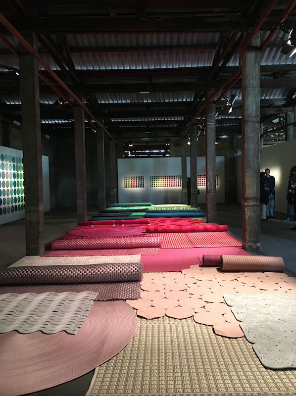 PAOLA LENTI - This years installation from the furniture manufacturer was housed in an industrial warehouse in Fabricca Orobia.  The image shows the collection of outdoor and indoor rugs in a full spectrum of colour and texture.