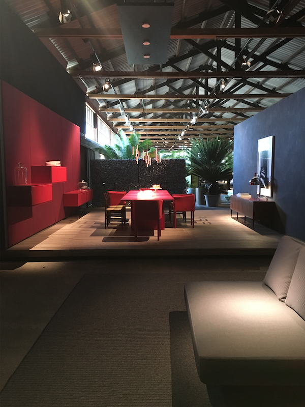 PAOLA LENTI - Retro pairing of colours was a clear trend at this years fair, this dining setting by Paola Lenti mixed magenta, red and blue in a variety of matte, gloss and metallic finishes.