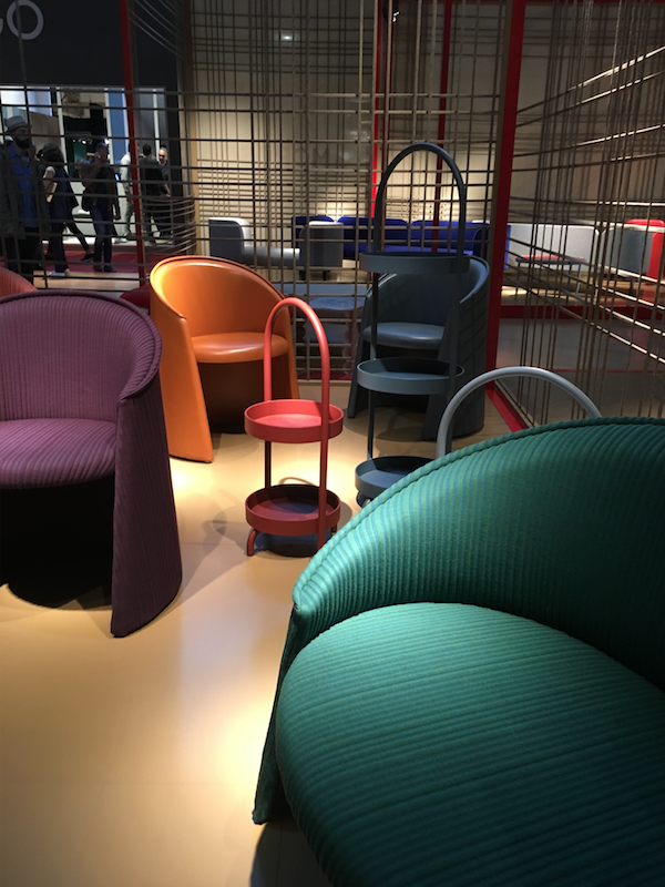 MOROSO - This year's stand showcased more of the wild and elegant pieces the design house is known for, compact pieces, block colours and mixing of patterns and textures were favourites in their installations.