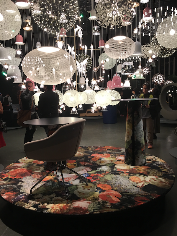 MOOOI - room after room of the designers quirky installation in Tortona surprised and delighted, this massive assembly of their collection lighting was the final WOW moment in the journey through the space.