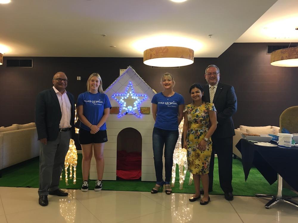 Make-A-Wish with Sudima owner Sudesh Jhunjhnuwala, Vedika Jhunjhnuwala and Sudima Auckland Airport hotel manager Riza Suryo