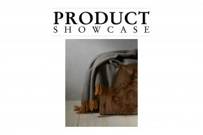 Product Showcase banner with a grey Shetland throw.