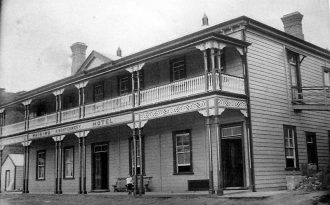 Hauraki Hotel, black and white image.