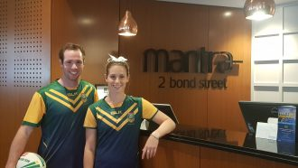 NRL Touch Football's Samantha Rodgers and Samuel Brisby at a Mantra Hotel