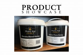 Product Showcase banner with buckets of Manuka honey.