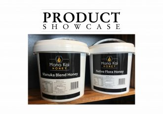 Product Showcase banner with buckets of Manuka honey.