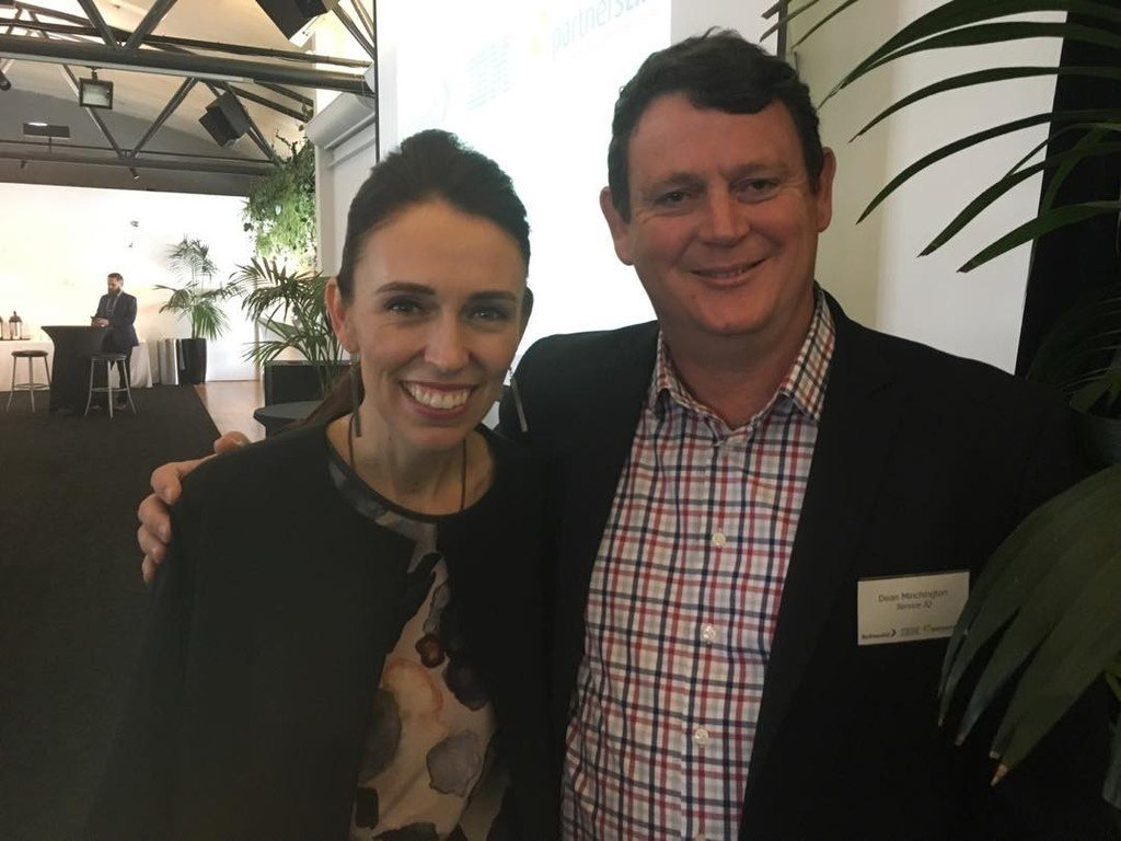 Dean Minchington with Prime Minister Jacinda Ardern