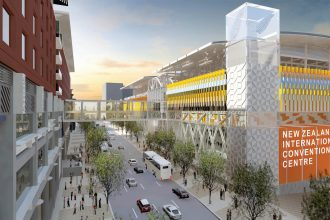Artist's impression of the New Zealand International Convention Centre.