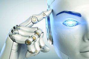 Artificial lifeform, or robot, touches a computer interface.