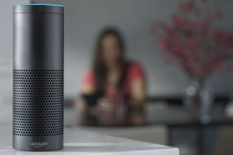 Amazon Echo in a hotel guest room