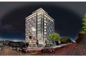 Artist's impression of the Auckland CBD Sudima hotel at night.