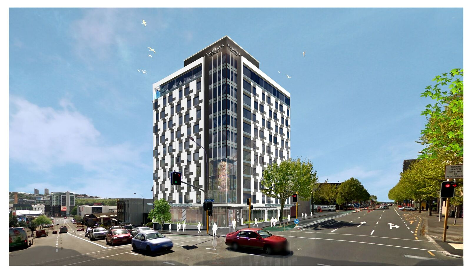 Artist's impression of the Auckland CBD Sudima hotel at daytime.