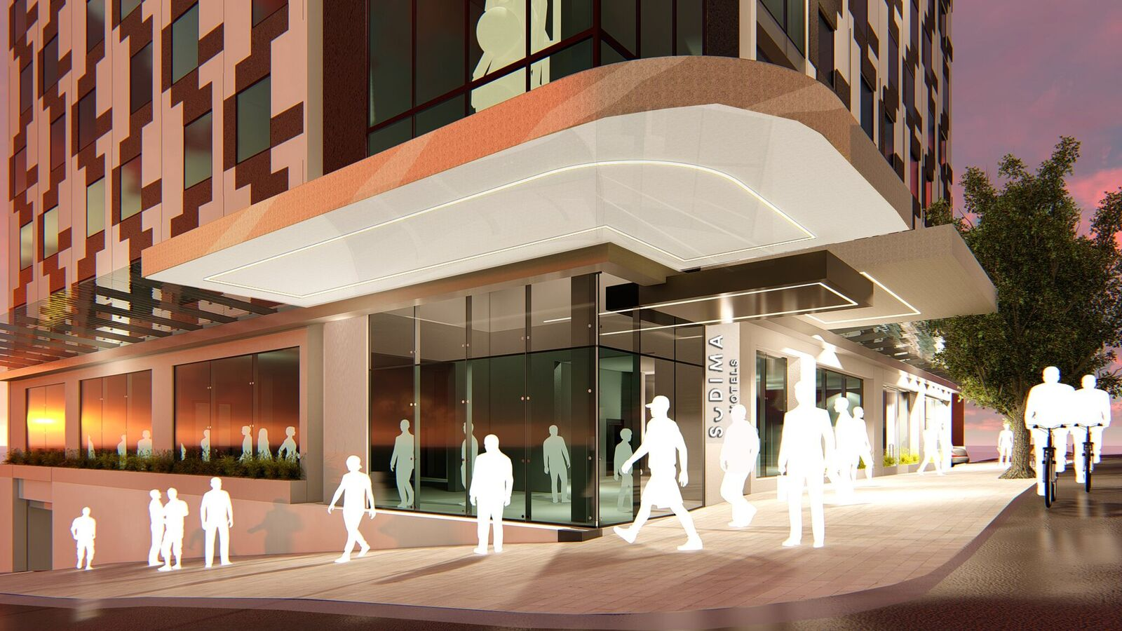 Artist's impression of the Auckland CBD Sudima hotel entrance.