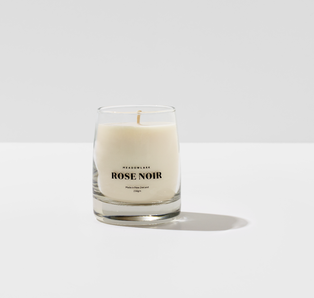Meadowlark Rose Noir candle at a showroom.