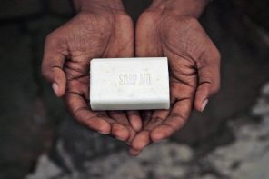 Soap in hands.
