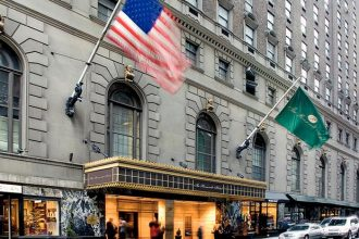Hotel waving the US flag.