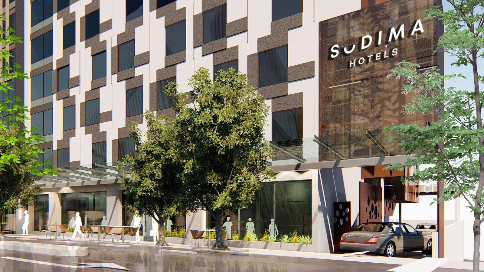 Artist's impression of the Auckland CBD Sudima hotel exterior.
