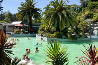 Pool at Taupo DeBretts Spa Resort.
