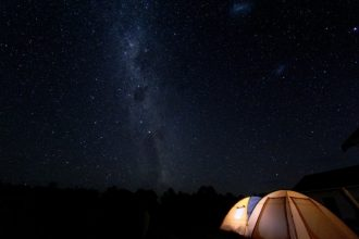 Tent in the Martinborough dark night sky.