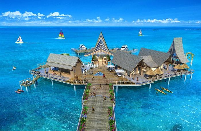 Floating villas a the Wyndham Palau