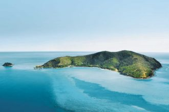 Long range camera shot of Hayman Island.