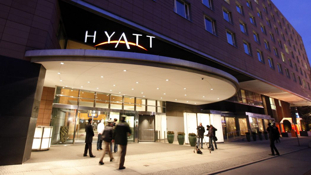 A general views shows the main entrance of the Grand Hyatt hotel after a group of armed men stormed the hotel during a poker tournament in Berlin March 6, 2010.