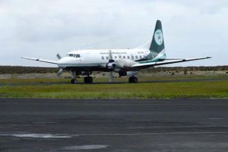 Aircraft lands at Chatham Islands airport.