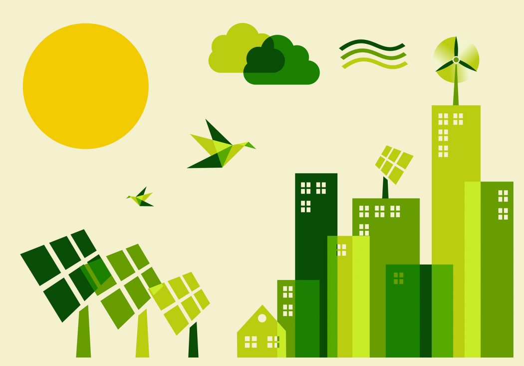Eco-friendly green cartoon.