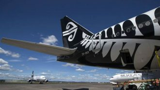 Air New Zealand aircraft rear.