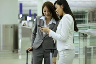 Chinese business travellers