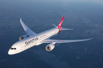 Qantas aircraft in flight.
