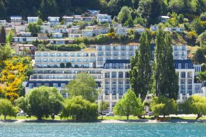 Lakefront view of the Rydges Queenstown.