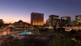 Hilton Adelaide at dusk.