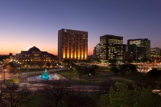 Hilton Adelaide at dusk.
