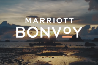 Marriott Bonvoy logo in the clouds.