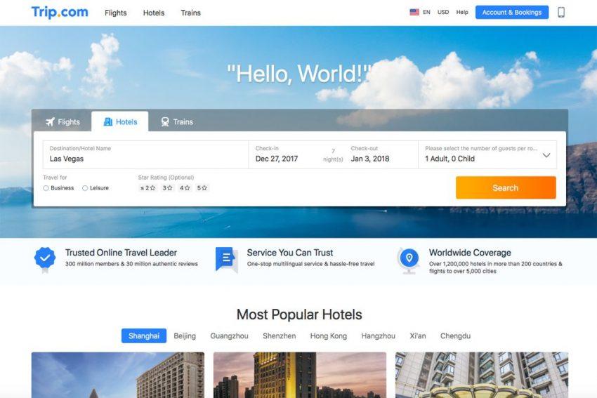 Trip.com website.