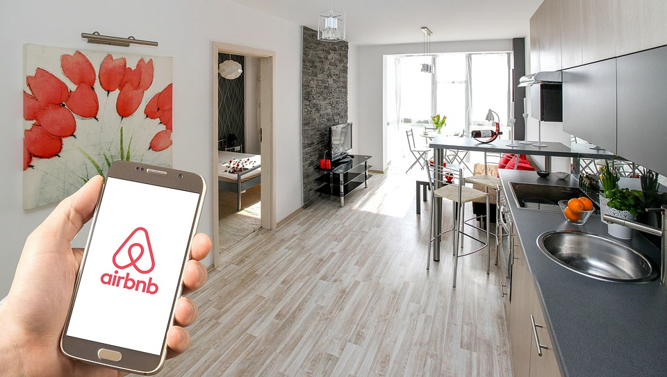 Airbnb app in a room.