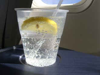 Single-use plastic up on a flight.