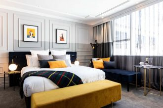 Interiors of a Wains Hotel room designed by Yellow6.