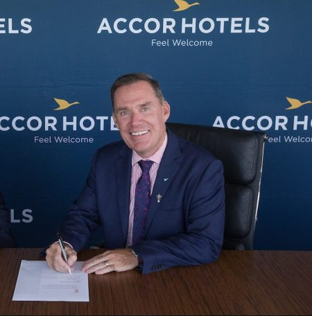 RLWC2017 CEO Andrew Hill with Accor Hotels CEO Simon McGrath at the announcement of their partnership for the World Cup at Accor Hotels Headquarters on Monday 8th February 2017. Sydney, Australia.
