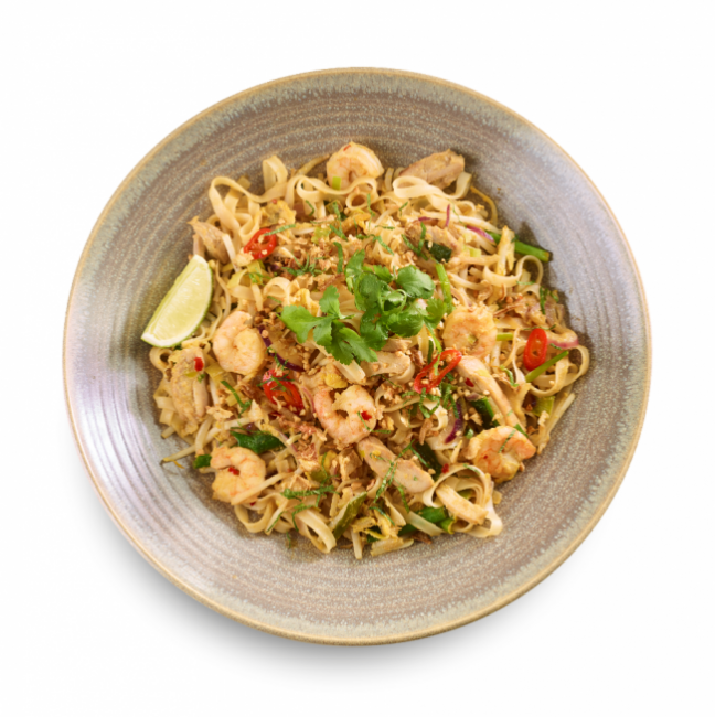 Chicken pad thai dish at Wagamama