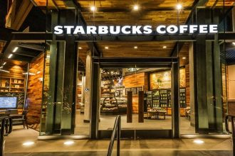 The exterior of a Starbucks store in California