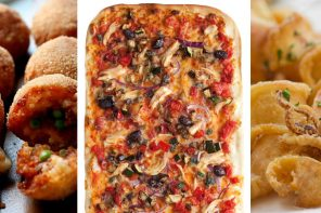 A collage of food available from Toto Pizza