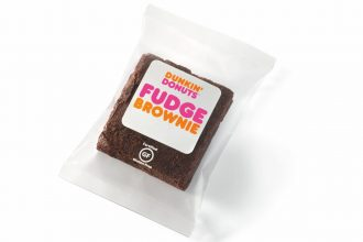 A Dunkin' Donuts chocolate fudge brownie