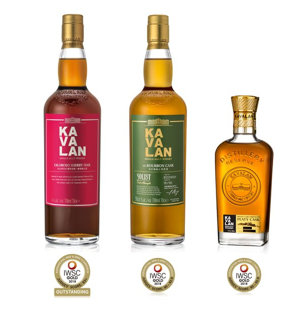 A line-up of the Kavalan range