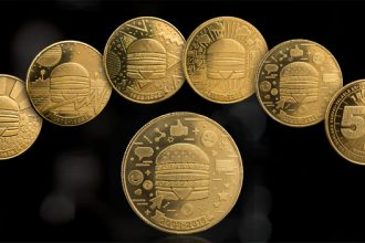 Five different MacCoins, displaying different images
