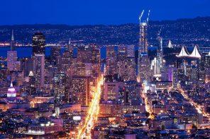 The San Francisco skyline at night