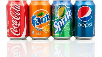 A row of soft drink cans