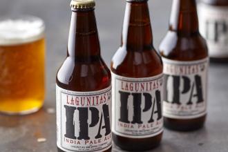 three bottles of lagunitas ipa