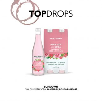 Sundown Gin's pink variant with the top drops header logo